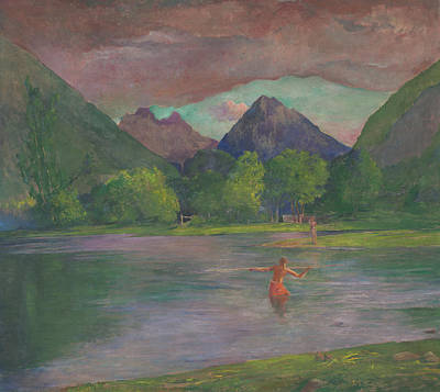 Athletic Painting - Afterglow Tautira River Tahiti Fisherman Spearing A Fish by John La Farge