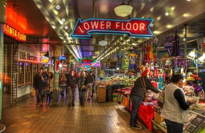 Afternoon At The Pike Street Market Seattle Washington Art Print