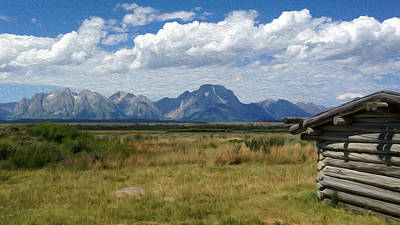 Old Cabins Mixed Media - Afternoon At The Tetons by Nellie Corean