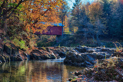 Fall Colors Photograph - Afternoon Autumn Sun On Vermont Covered Bridge by Jeff Folger