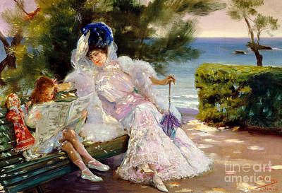 Afternoon By The Sea, Biarritz, 1906 Art Print by Jose Villegas Cordero