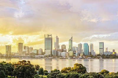 Photograph - Afternoon City Glow, South Perth, Perth by Dave Catley