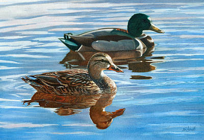 Ducks In Watercolor Painting - Afternoon Delight by Sandi Howell