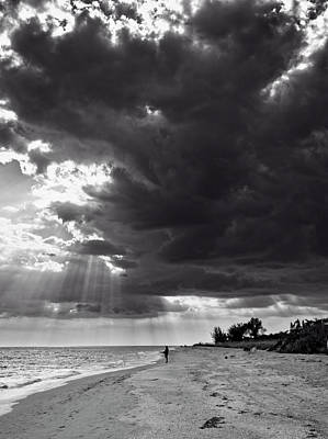 Photograph - Afternoon Fishing On Sanibel Island In Black And White by Chrystal Mimbs