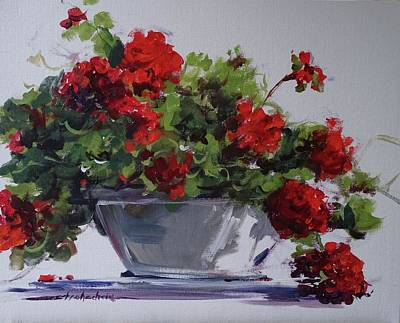 Painting - Afternoon Geraniums by Sandra Strohschein