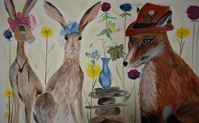 Painting - Afternoon Hat Party by Susan Voidets