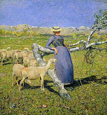 The Shepherdess Painting - Afternoon In The Alps by Giovanni Segantini