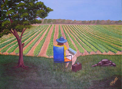 Art Print featuring the painting Afternoon In The Vineyard by Tim Mattox
