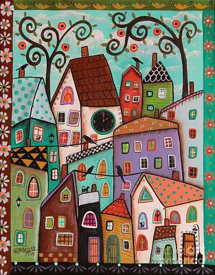 City Village Painting - Afternoon by Karla Gerard