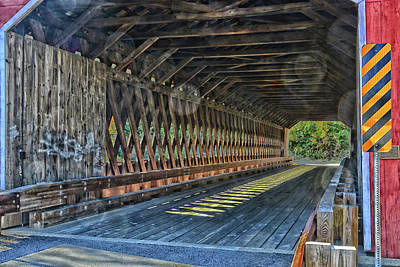 Photograph - Afternoon Light In The Ware Covered Bridge by Mike Martin