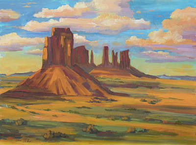 Art Print featuring the painting Afternoon Light Monument Valley by Diane McClary
