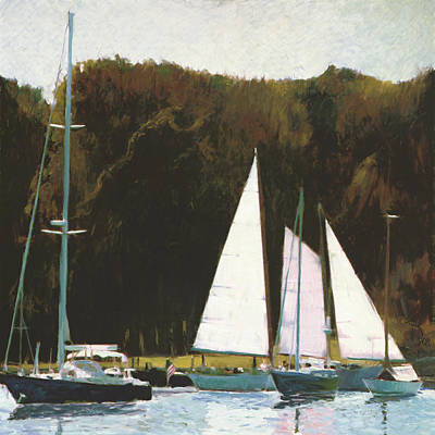 Painting - Afternoon Mooring by Thomas Tribby