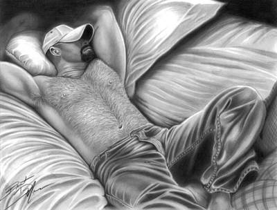Homoerotic Drawing - Afternoon Nap by Brent  Marr