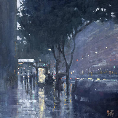 Wall Art - Painting - Afternoon Rain - Currie Street by Mike Barr