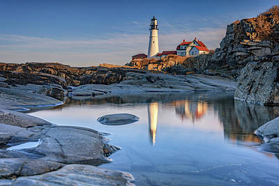 Photograph - Afternoon Reflection At Portland Head Lighthouse by Rick Berk