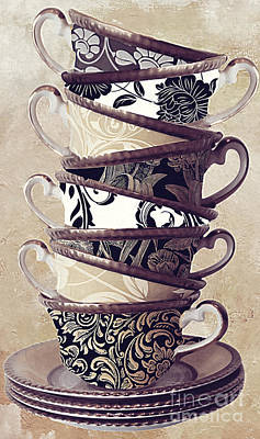 Coffee Painting - Afternoon Tea by Mindy Sommers