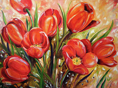 Painting - Afternoon Tulips by Laurie Pace