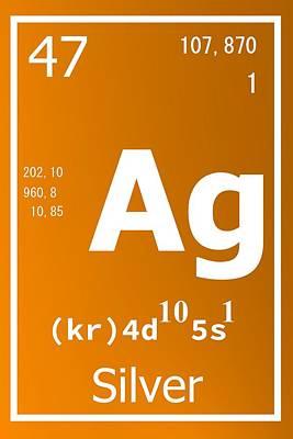 Numbers Digital Art - Ag Over Orange by Alberto RuiZ