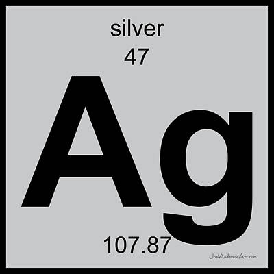 Digital Art - Ag Silver - Periodic Table Of Elements by Joel Anderson Art