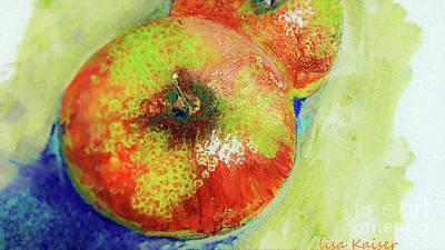 Digital Art - Again Apple Art Painting by Lisa Kaiser