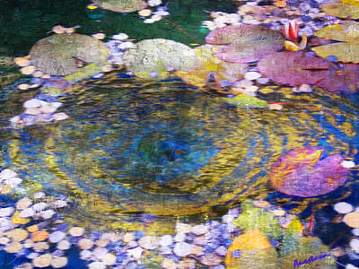 Digital Art - Agape Gardens Autumn Waterfeature II by Anastasia Savage Ealy