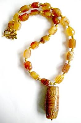 Toggle Clasp Jewelry - Agate And Carved Jade by Pat Stevens