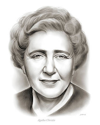 Novelist Drawing -  Agatha Christie by Greg Joens