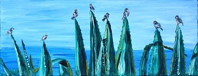 Painting - Agave With Sparrows by Valerie Ornstein