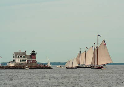 Age Of Sail Rockland Lighthouse Original by Doug Mills