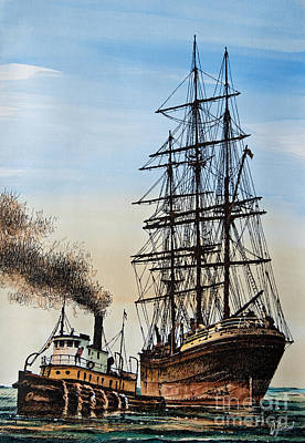 Tugboat Wall Art - Painting - Age Of Steam And Sail by James Williamson