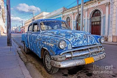 Caribbean Photograph - Aged And Run-down Cuban Auto In The Street Of Cienfuegos, Cuba  by Mikko Palonkorpi