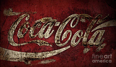 Photograph - Aged Coca Cola Dark by John Stephens