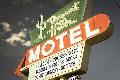 Photograph - Aged Desert Hills Motel - Grey Sky - Route 66 Tulsa Oklahoma by Gregory Ballos