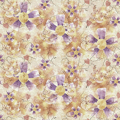 Aged Flower Clown Pattern Art Print