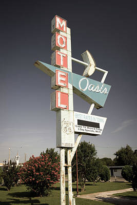 Photograph - Aged Oasis Motel Route 66 Sign - Tulsa Oklahoma by Gregory Ballos