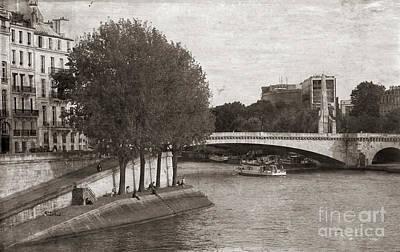 Digital Art - Aged Photo Edit Seine River France  by Chuck Kuhn