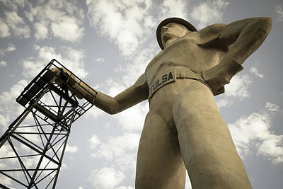 Photograph - Aged Photo Tulsa Driller Statue Art by Gregory Ballos