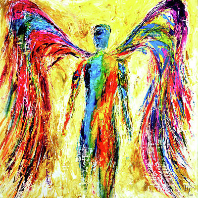 Beautiful Angel Painting - Agel Of Color by Ivan Guaderrama