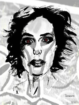 Gillian Anderson Digital Art - Agent Scully - Red Eyes Only Remix by Soma79