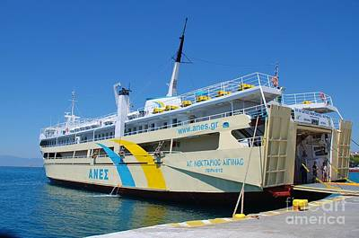 Photograph - Agios Nektarios Ferry Boat At Aegina by David Fowler
