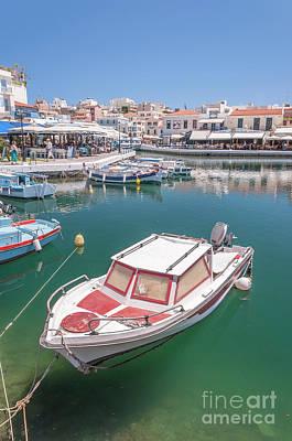 Agios Nikolaos Boat In Lagoon Art Print