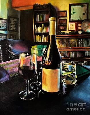 Wine Reflection Art Painting - Aglianico Wine On Christmas Eve by Alessandra Andrisani