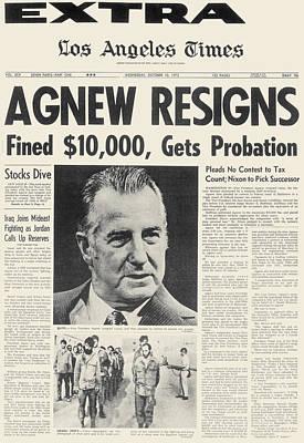 Agnew Resignation, 1973 Art Print by Granger