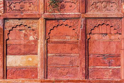 Photograph - Agra Fort Detail, Exterior Wall. by Nila Newsom