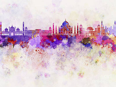 India Ink Wall Art - Painting - Agra Skyline In Watercolor Background by Pablo Romero