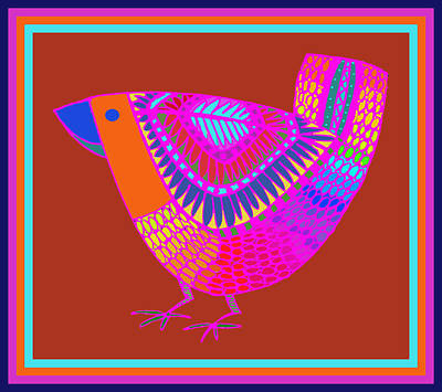 Digital Art - Agridulce Folk Art Bird by Vagabond Folk Art - Virginia Vivier