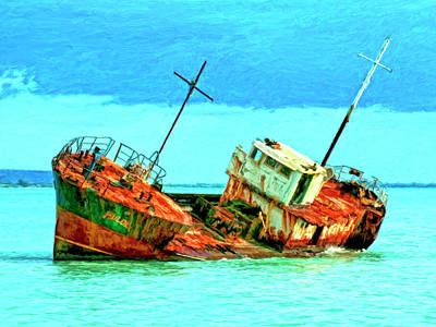 Aground Painting - Aground Off Jamaica by Dominic Piperata