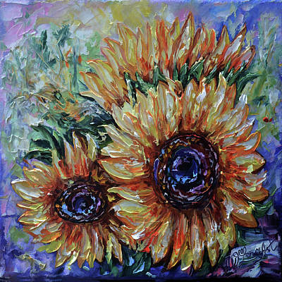 Painting - Ah, Sunflower Palette Knife Oil  Painting  by OLena Art Brand