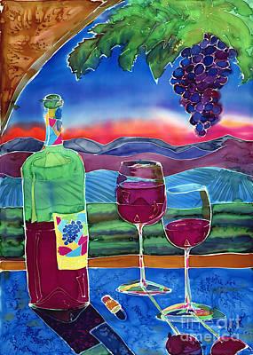 California Vineyard Painting - Ah Western Wines by Jill Targer