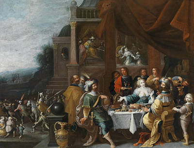 Painting - Ahasver And Haman At The Banquet Of Esther by Frans Francken the Younger